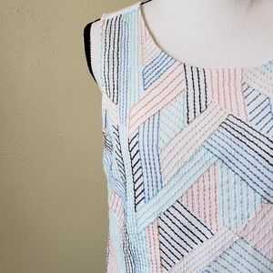 Skies Are Blue Embroidered Ribbon Lines White Top